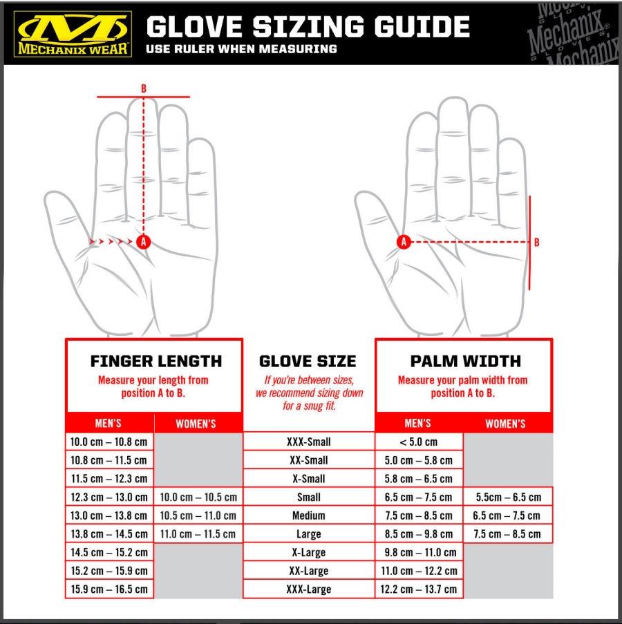 Mechanix Glove Sizing