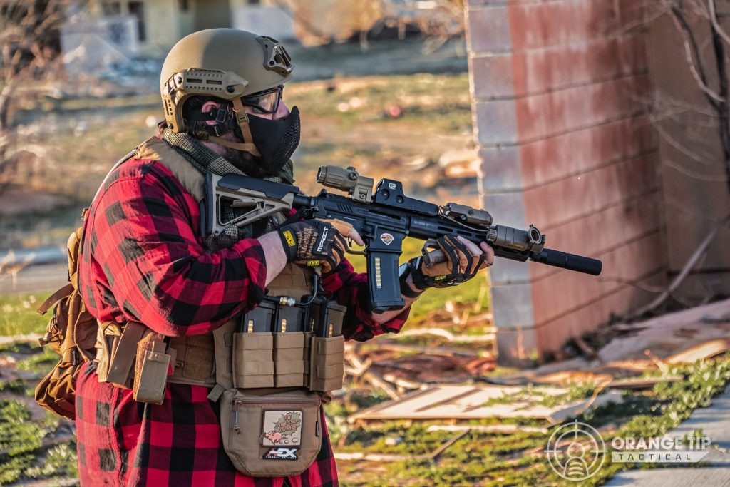Airsoft player wearing a plate carrier