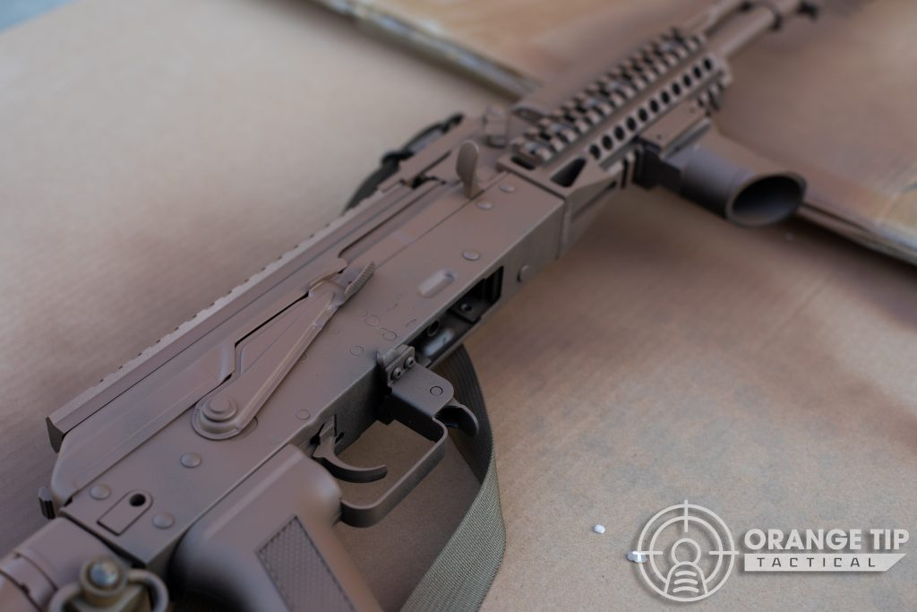 Closeup of LCT AK-74M receiver with base coat applied
