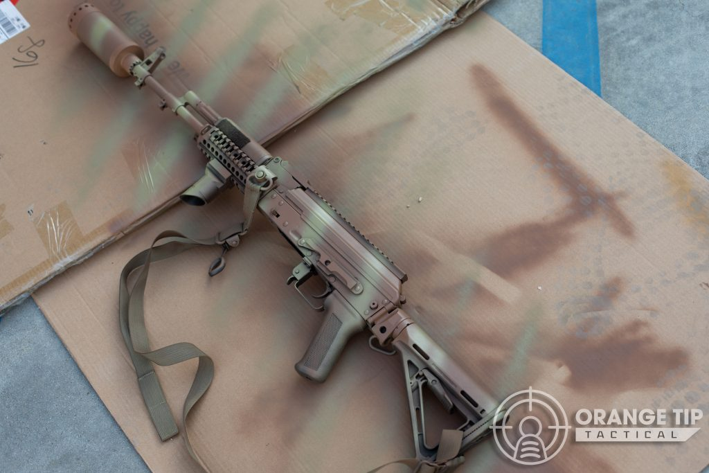 LCT AK-74M with first coat of stripes applied.